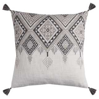 Rizzy Home Tribal Aztek Off-White Cotton 20-inch Throw Pillow with Tassels