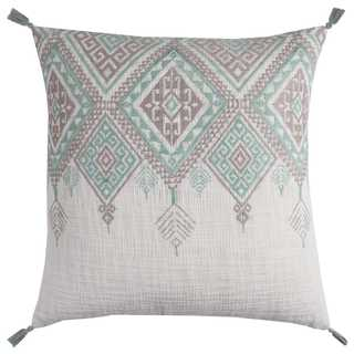Rizzy Home Tribal Aztek With Tassels Cotton Decorative Filled 20 x 20 Throw Pillow