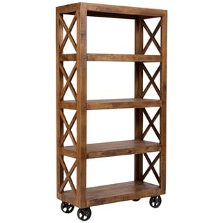Wanderloot Barn Door Rolling Open Bookcase with Four Shelves, Criss Cross Accents, and Cast Iron Wheels