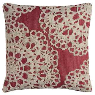 Rizzy Home Embroidered Textural Medallion Ivory and Red Cotton 20-inch Square Throw Pillow