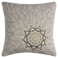 Rizzy Home Medallion with Petals'Cotton 20-inch x 20-inch Decorative filled Throw Pillow