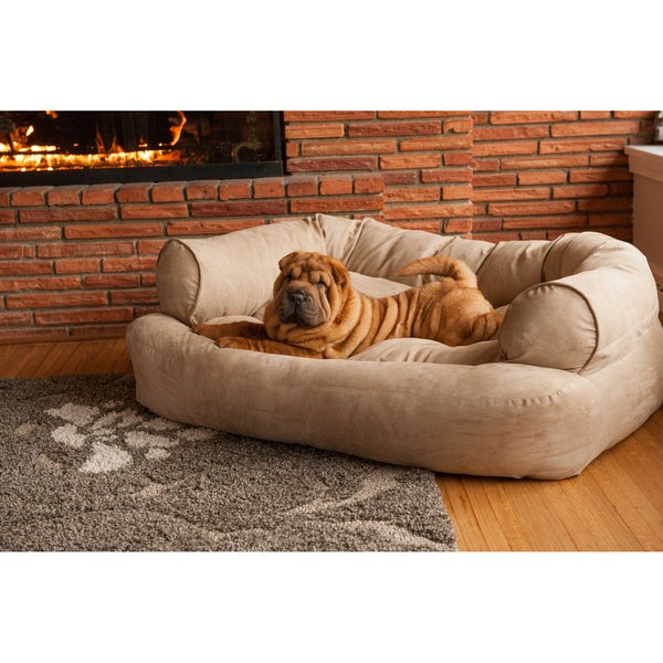 Snoozer Overstuffed Solid Microsede Luxury Pet Sofa
