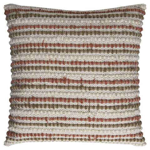Rizzy Home Multicolor Cotton Striped Throw Pillow