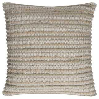 Rizzy Home Stripe Textured Linen / Cotton 20-inch x 20-inch Decorative Filled Throw Pillow