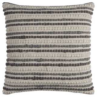 Rizzy Home Stripe Textured Linen/Cotton 20-inch Throw Pillow