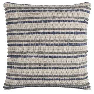 Rizzy Home Striped Textured Blue Cotton 20-inch Square Throw Pillow