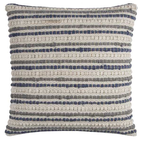 Shop Rizzy Home Striped Textured Blue Cotton 20 Inch