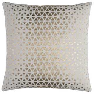 Rizzy Home White and Gold-tone Square Cotton Throw Pillow