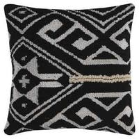 Rizzy Home Multicolored Cotton/Wool Tribal Medallion Square Decorative Throw Pillow