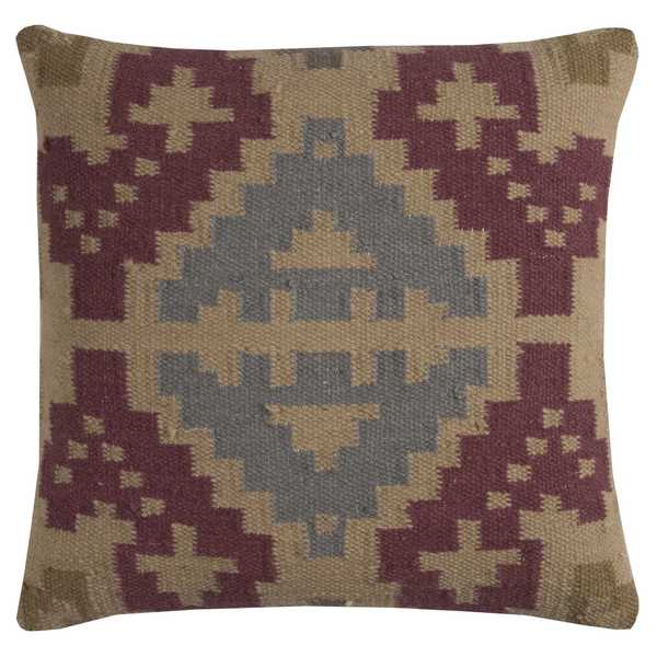 Rizzy Home Southweastern Wool/Cotton 20-inch x 20-inch Decorative Filled Throw Pillow