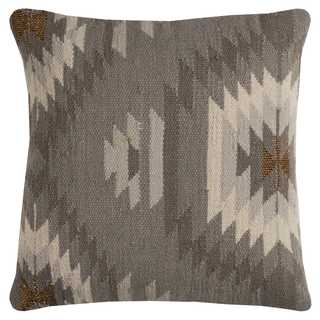 Rizzy Home Grey Cotton Southweastern Decorative Throw Pillow (As Is Item)