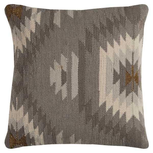 Rizzy Home Grey Cotton Southweastern Decorative Throw