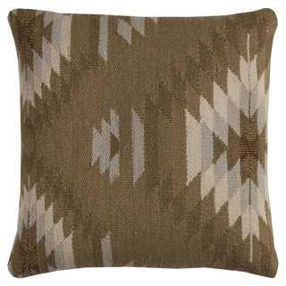 Rizzy Home Tan Wool/Cotton 20 x 20 Decorative Throw Pillow