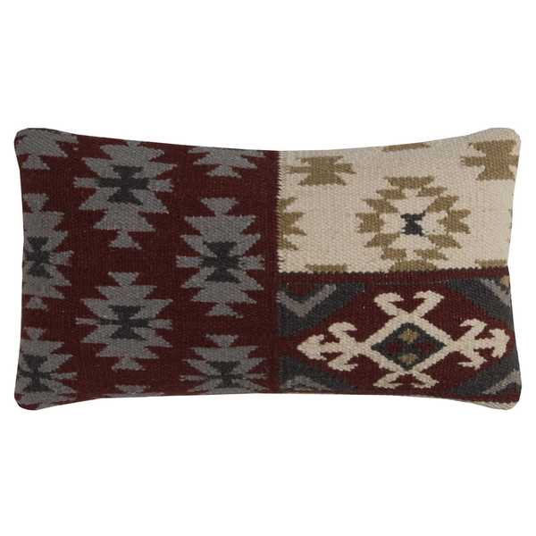 Rizzy Home Southwestern Motif Multicolor Wool and Cotton 11-inch x 21-inch Throw Pillow