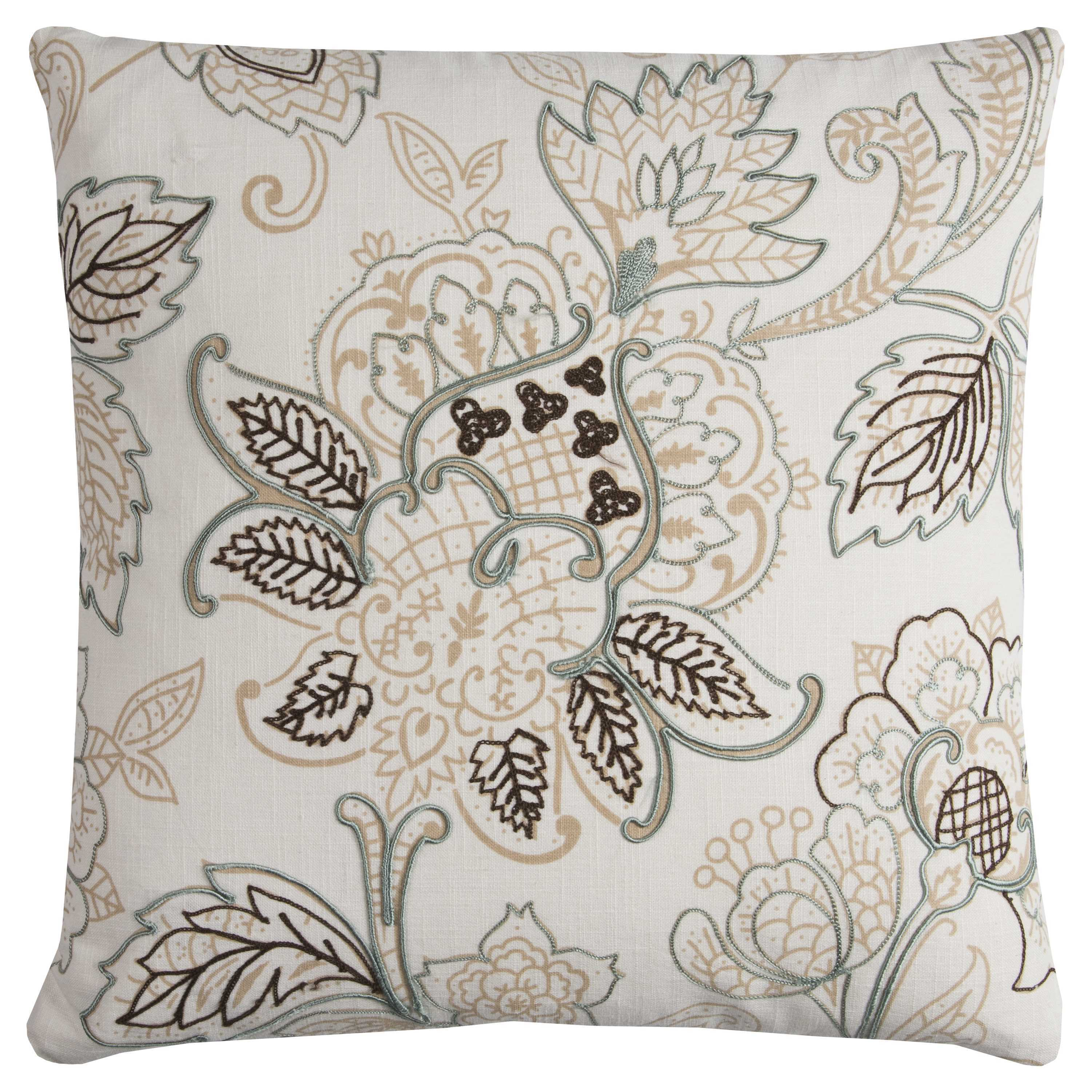 Rizzy Home Cotton 20-inch x 20-inch Floral Decorative Filled Throw Pillow (20 x 20 Natural FLORAL)