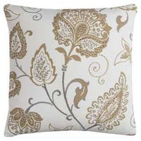 Rizzy Home Floral Ivory Cotton 20-inch Square Throw Pillow