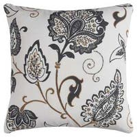 Rizzy Home Ivory Cotton 20-inch x 20-inch Floral Decorative Filled Throw Pillow