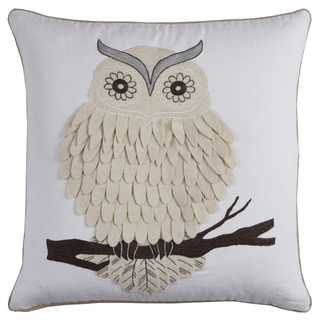 Rizzy Home Owl Natural Cotton Duck and Felt 20-inch x 20-inch Decorative Filled Throw Pillow