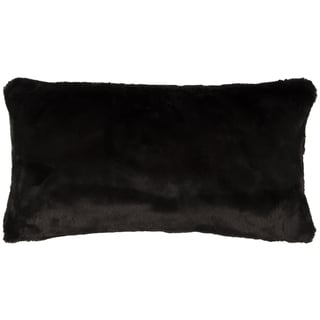 Rizzy Home Solid Black Faux Fur Decorative Throw Pillow