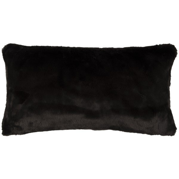 Shop Rizzy Home Solid Black Faux Fur Decorative Throw