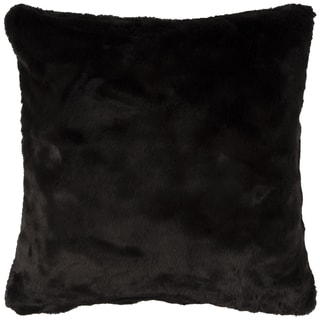 Rizzy Home Solid Black Faux Fur Square Decorative Throw Pillow