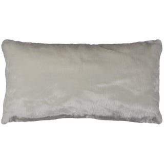 Rizzy Home Solid White Faux Fur Decorative Throw Pillow