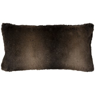 Rizzy Home Solid Brown Faux Fur Decorative Throw Pillow