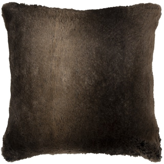 Rizzy Home Solid Brown Faux Fur Square Decorative Throw Pillow