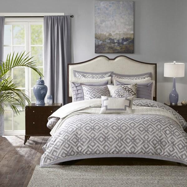 Madison Park Signature Stein Grey Jacquard Comforter Set