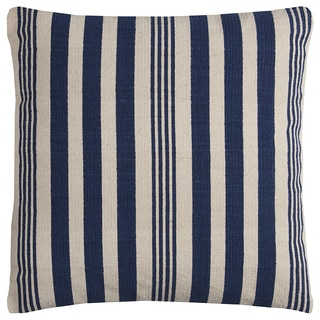 Rizzy Home Blue/ Ivory Vertical Stripe Heavy Cotton Canvas Decorative Throw Pillow