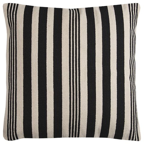 Rizzy Home Black/ Ivory Vertical Stripe Heavy Cotton Canvas Decorative Throw Pillow