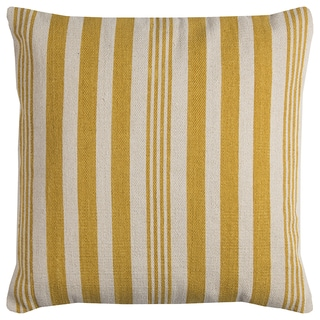 Rizzy Home Yellow/ Ivory Vertical Stripe Heavy Cotton Canvas Decorative Throw Pillow