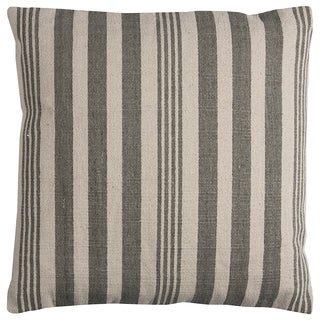 Rizzy Home Grey/ Ivory Vertical Stripe Heavy Cotton Canvas Decorative Throw Pillow