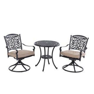 Sunjoy Renaissance Aluminum and Steel Bistro Set with Beige Cushions, 28 Inches by 28 Inches