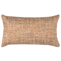 Rizzy Home All Over Threaded Pattern Peach Cotton Decorative Throw Pillow