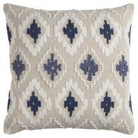 Rizzy Home Off-white/ Blue Diamond Cotton Canvas Decorative Throw Pillow