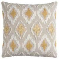 Rizzy Home Off-white/ Yellow Diamond Cotton Canvas Decorative Throw Pillow