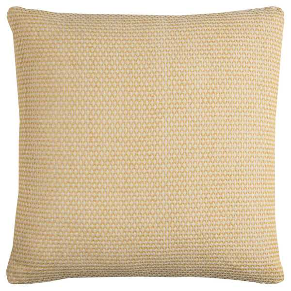 Rizzy Home Solid Yellow Cotton Textured Decorative Throw Pillow