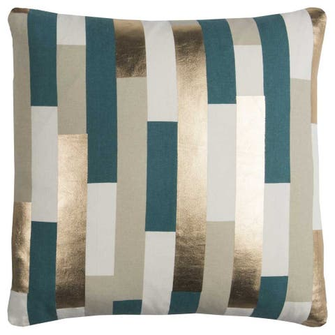 Rachel Kate by Rizzy Home Green Stripe Cotton Casement Decorative Throw Pillow