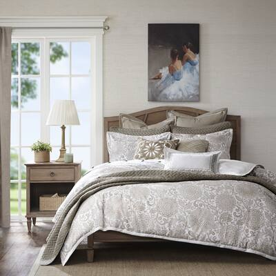 Madison Park Signature Sophia Ivory/Taupe Jacquard Comforter Set