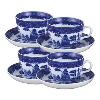 Blue Willow Porcelain 8-piece Tea Cup and Saucer (Service for 4)