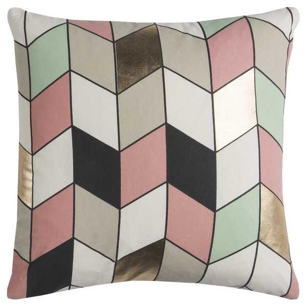 Rachel Kate by Rizzy Home Grey/ Pink Geometric Cotton Casement Decorative Throw Pillow