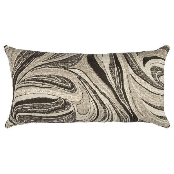 Rizzy Home Abstract Swirl Ivory Cotton 14-inch x 26-inch Throw Pillow