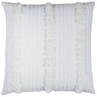 Rizzy Home Vertical Deconstructed Stripe White Cotton 20-inch Square Throw Pillow
