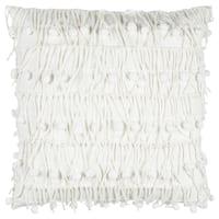 Rizzy Home White Cotton Textured Throw Pillow
