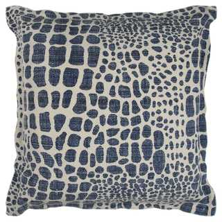 Rizzy Home Animal Print Blue Cotton 22-inch x 22-inch Decorative Filled Throw Pillow