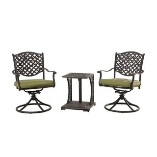 Sunjoy Vining Bistro Set Made of Cast Steel With Green Cushions, 20 Inches by 19 Inches by 22 Inches
