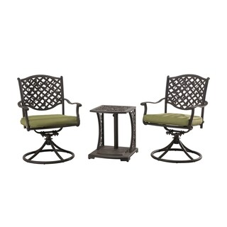 Sunjoy Vining Bistro Set Made Of Cast Steel With Green Cushions, 20 Inches  By 19