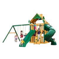 Gorilla Playsets Mountaineer Clubhouse Cedar Swing Set with Timber Shield Posts