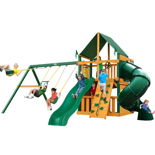 Gorilla Playsets Mountaineer Clubhouse Cedar Swing Set with Sunbrella Canvas Canopy and Timber Shield Posts